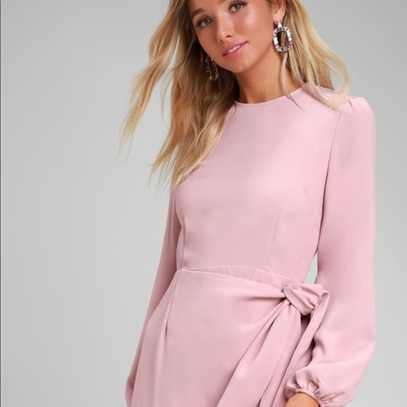 Rose Pink Long Sleeve Tie-Front Skater Dress MED